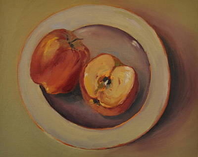 Painting - Apple And One Half by Lindsay Frost