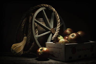 Wagon Wheels Photograph - Apple Basket Still Life by Tom Mc Nemar