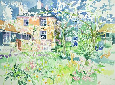 Charming Cottage Painting - Apple Blossom Farm by Elizabeth Jane Lloyd