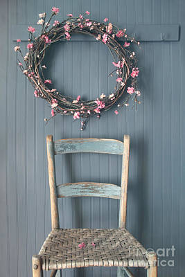 Photograph - Apple Blossom Wreath Hanging On Coat Hook With Chair by Sandra Cunningham