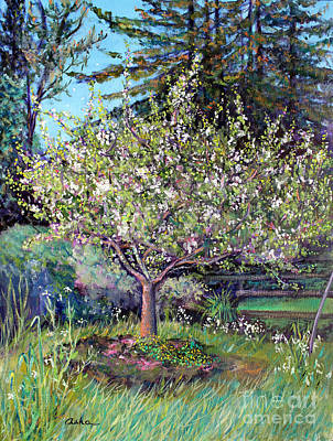 Painting - Apple Blossoms And Spring Flowers by Asha Carolyn Young