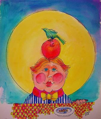 Apple Cheeks Art Print by Lou Cicardo