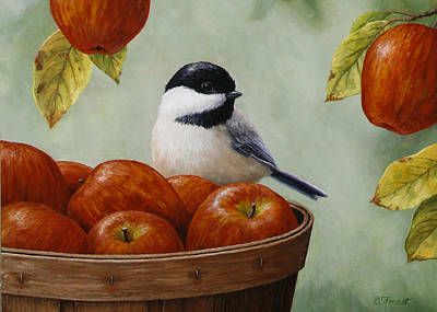 Apple Chickadee Greeting Card 1 Art Print by Crista Forest