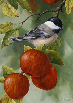 Apple Chickadee Greeting Card 2 Art Print by Crista Forest