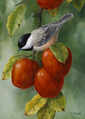 Apple Painting - Apple Chickadee Greeting Card 3 by Crista Forest