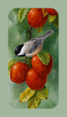 Fruit Trees Painting - Apple Chickadee Iphone5 Case V1 by Crista Forest