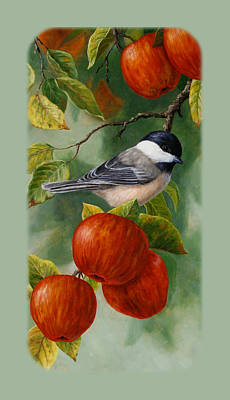 Fruit Trees Painting - Apple Chickadee Iphone5 Case V2 by Crista Forest