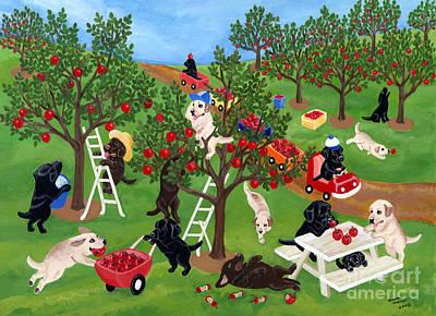 Chocolate Labrador Retriever Painting - Apple Farm Labradors by Naomi Ochiai