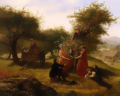 Mountain Valley Painting - Apple Gathering by Mountain Dreams