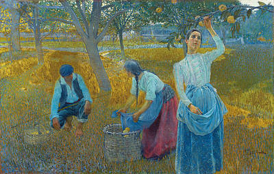 Outdoors Painting - Apple Harvest by Celestial Images