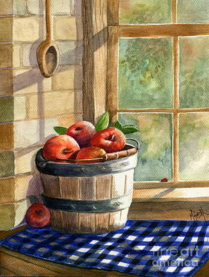 Checked Tablecloths Painting - Apple Harvest by Marilyn Smith