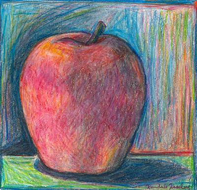 Fruit Colored Pencil Drawing Drawing - Apple by Kendall Kessler