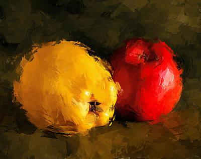 Apple Lemon Still Life Art Print by Yury Malkov