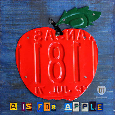 Teacher Mixed Media - Apple License Plate Art by Design Turnpike