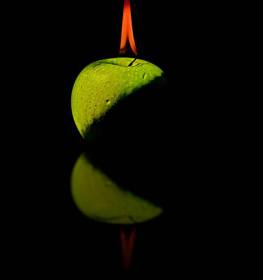 Curated Beach Towels - Apple on Fire by Peter Lakomy