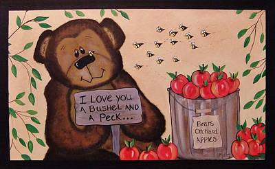 Painting - Apple Orchard Bear by Cindy Micklos