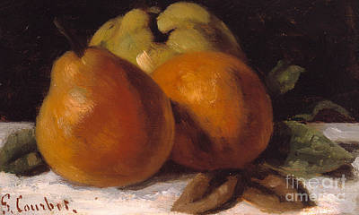 Courbet Painting - Apple Pear And Orange by Gustave Courbet