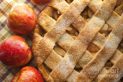 Food And Beverage Photos - Apple Pie with Lattice Crust by Diane Diederich