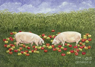 Piggies Painting - Apple Sows by Ditz