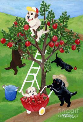 Apple Tree Labradors Art Print by Naomi Ochiai