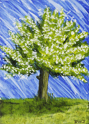 Apple Tree Painting With White Flowers Art Print