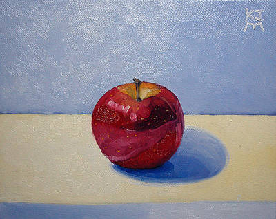 Painting - Apple - White And Blue. by Katherine Miller