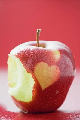 Apple With Heart, Partly Eaten Art Print