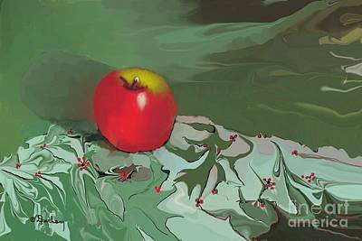 Table Cloth Digital Art - Apple by Dessie Durham