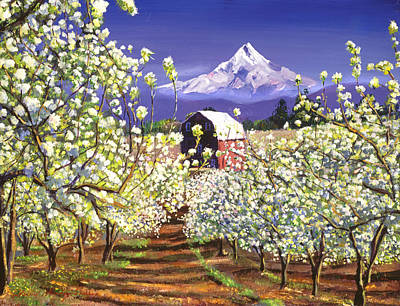 Apple Orchard Painting - Appleblossoms Mount Hood by David Lloyd Glover