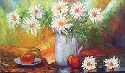 Painting - Apples And Daisies  by Irene Pomirchy