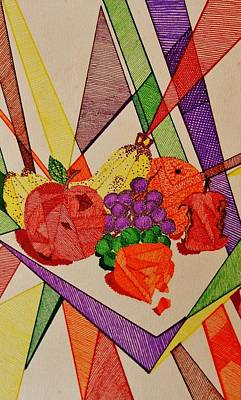 Art Print featuring the drawing Apples And Oranges by Celeste Manning