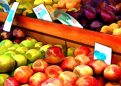 Apples And Pears And Plums Oh My Print by Elaine Plesser