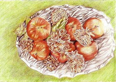 Apples And Pine Cones Print by Candace  Hardy