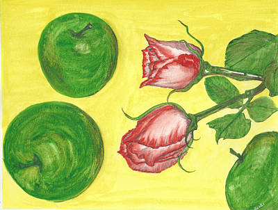 Painting - Apples And Roses by Bertie Edwards