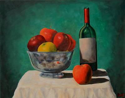 Painting - Apples And Wine by Michael Saunders