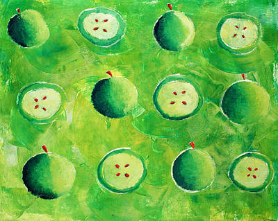 Inventions Painting - Apples In Halves by Julie Nicholls