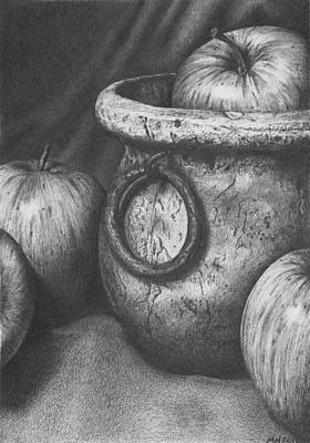 Drawing - Apples In Stoneware by Michelle Harrington