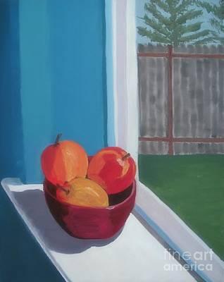 Fruit Bowl Window Painting - Apples In Window by Rachel Dunkin