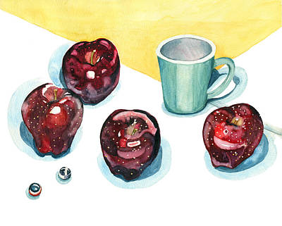 Marble Kitchen Counters Painting - Apples by Katherine Miller