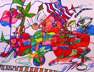 Apples Leg And Flag Original by E Dan Barker