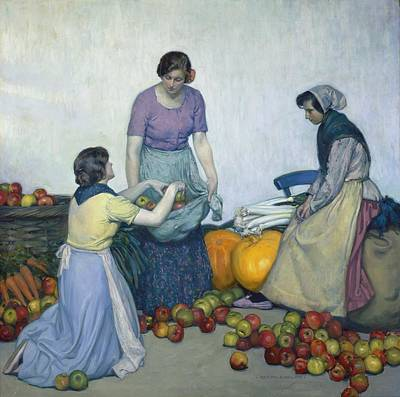 Fruits And Vegetables Painting - Apples by Myron G Barlow