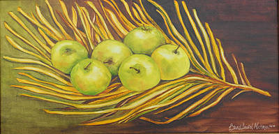 Etc. Painting - Apples On Dried Grass by Brandi  Hickman