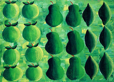 Pears Painting - Apples Pears And Limes by Julie Nicholls