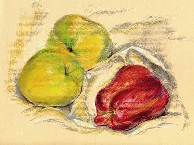 Pastel - Apples - Yellow And Red by MM Anderson