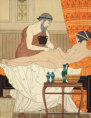 Massage Painting - Application Of White Egyptian Perfume To The Hip by Joseph Kuhn-Regnier