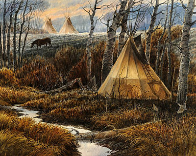 Tipi Painting - Approaching Dusk by Steve Spencer