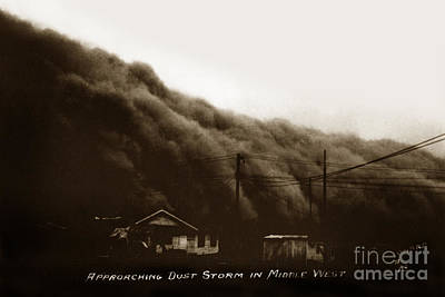 Photograph - Approaching Dust Storm In Middle West By Frank D. Conard Circa 1938 by California Views Mr Pat Hathaway Archives
