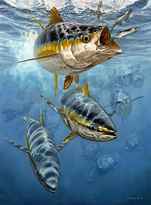 Salt Water Game Fish Painting - Approaching Front by Don  Ray
