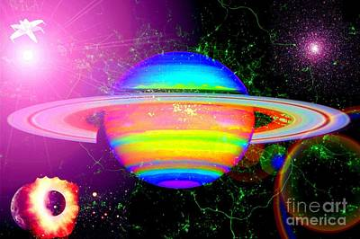 Digital Art - Approaching Saturn From The East by Saundra Myles