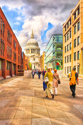 Approaching St. Paul's Cathedral Art Print by Mark E Tisdale